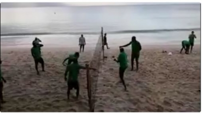 VIDEO: SUPER EAGLES ENGAGE IN BEACH FOOT-VOLLEYBALL EXERCISE AHEAD OF SEYCHELLES' ENCOUNTER