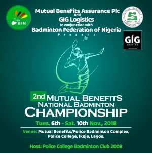MUTUAL BENEFITS NATIONAL BADMINTON CHAMPIONSHIP BEGINS NOV 6