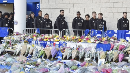 WILFRED NDIDI, OTHER DEVASTATED LEICESTER CITY STARS CONSOLED AS THEY PAY RESPECTS TO OWNER VICHAI SRIVADDHANAPRABHA