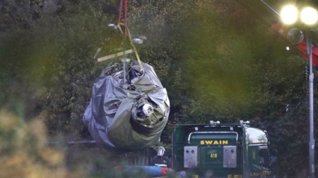 LEICESTER CITY HELICOPTER CRASH: WRECKAGE REMOVED