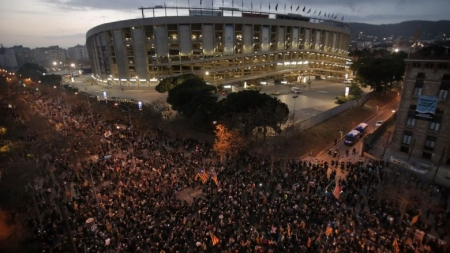 PRO-INDEPENDENCE PROTESTS ERUPT NEAR BARCELONA STADIUM BEFORE EL CLASICO