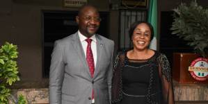 NIGERIA'S SPORTS MINISTER, SUNDAY DARE CONGRATULATES OBY SOLAJA ON AFRICAN WOMEN IN BADMINTON AWARD