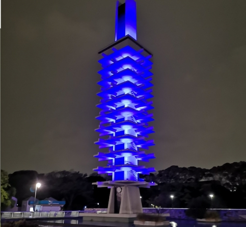 TOKYO 1964 OLYMPIC MONUMENT TURNED BLUE TO PAY TRIBUTE TO DOCTORS AND NURSES