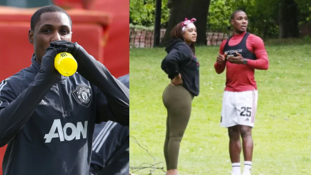 ODION IGHALO TRAINS WITH SEXY LOOKING LADY AT PARK