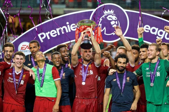 LIVERPOOL MAY WIN PREMIERSHIP AT JUNE 21 CLASH WITH EVERTON